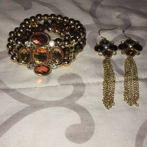 Brown and gold Bracelet and earring set